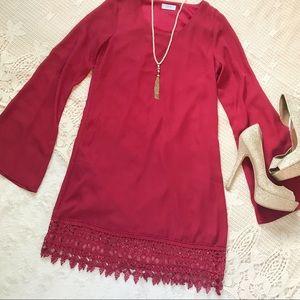 {Tobi} Long Bell Sleeve Dress with Lace Hem